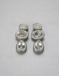 Beaded Bazeled Crystal Cabochon Clip-On Earrings in silver