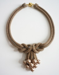 Beige Love Knot Necklace with matching Swarovski Pearls