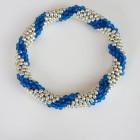 Blue:Silver Spiral Stripe  Roll On Crochet Bracelet
