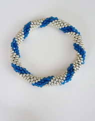 Blue:Silver Spiral Stripe  Roll On Crochet Bracelet