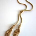 Gold Crochet Tassel Lariat With Adjustable Connecting Slider