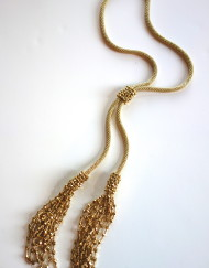 Gold Crochet Tassel Lariat With Adjustable Connecting Slider