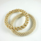 Gold:Silver faceted design and All Silver design Hand Crochet Roll On Bracelets