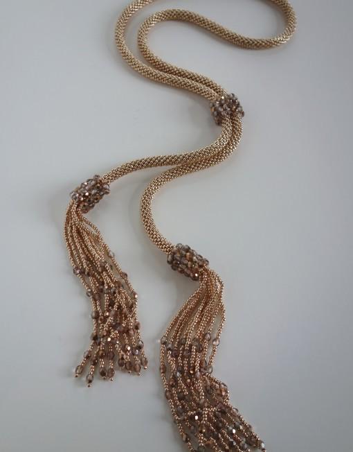 Rose Gold Crochet Tassel Lariat With Adjustable Connecting Slider