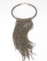 Silver Beaded Fringe Necklace