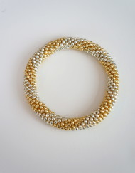 Spiral Stripe Beaded Roll On Bracelet