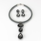 Three Chrystal Bezel Cabochons Pendant Necklace and Matching Clip Earrings Set 1