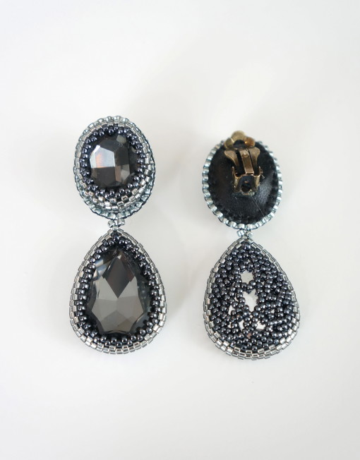 Three Chrystal Bezel Cabochons Pendant Necklace and Matching Clip Earrings Set 3
